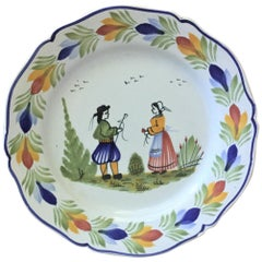 French Faience Quimper Plate, circa 1960