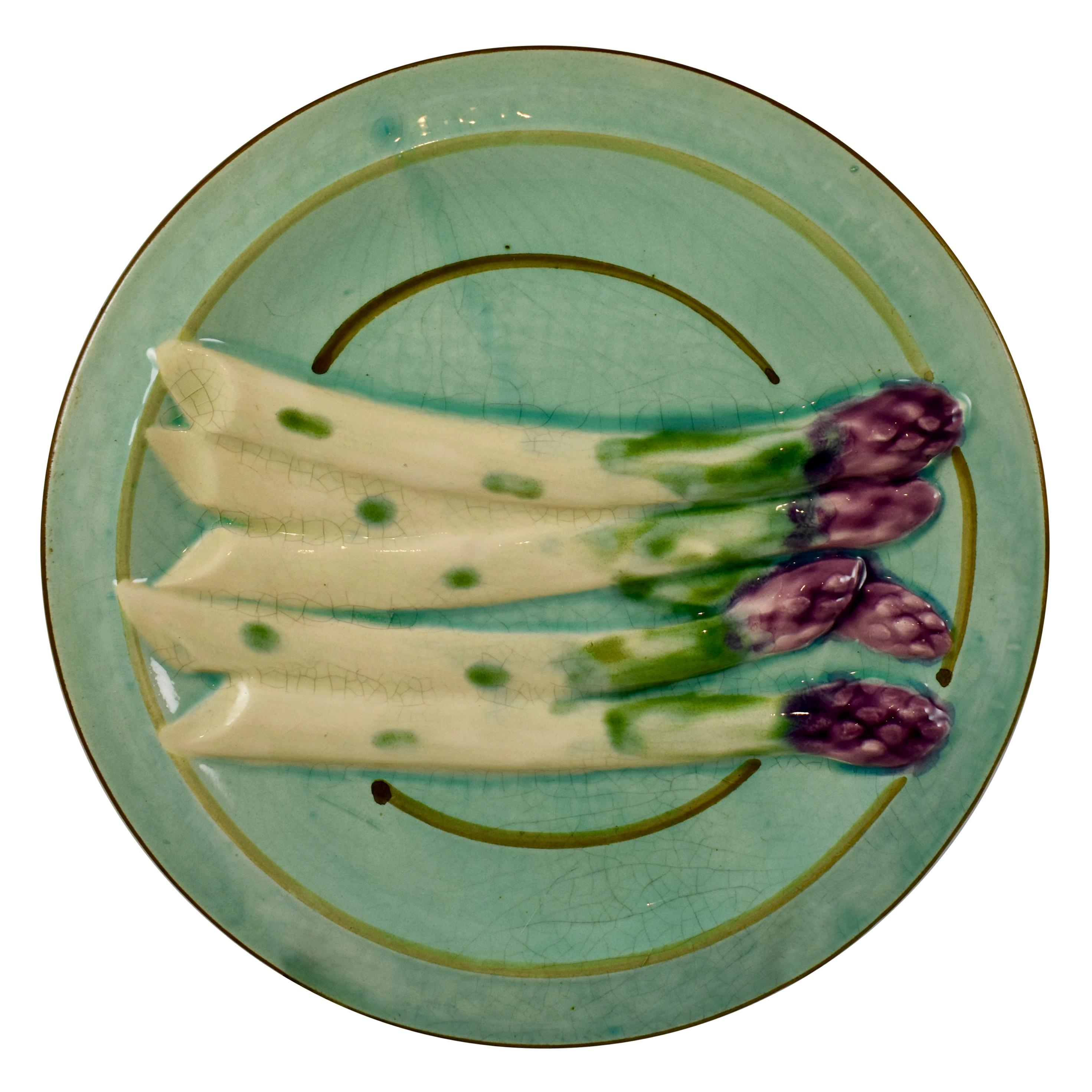 French Faïence Sarreguemines Barbotine Turquoise Hand Painted Asparagus Plate