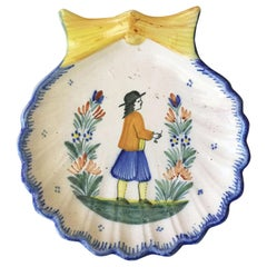 French Faience Shell Platter Quimper, circa 1910