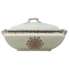 French Faience Snowflakes Covered Dish Salins, circa 1890
