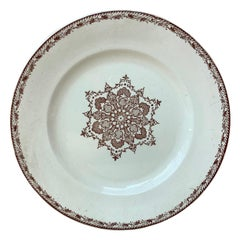 French Faience Snowflakes Dinner Plate Salins, circa 1890