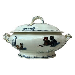 French Faience Tureen with Dogs and Cats Creil et Montereau, circa 1890