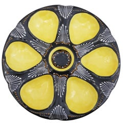 French Faience Yellow Oyster Plate Quimper, circa 1940