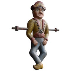 French Fairground Folk Art Hand Carved Wooden Jeu De Massacre Figure, circa 1880