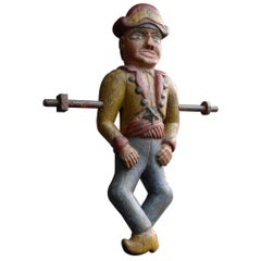 French Fairground Folk Art Hand Carved Wooden Jeu De Massacre Figure, circa 1880