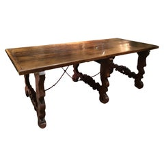 French Farm House Table, 19th Century with Ox Bow Ends and Iron Stretchers