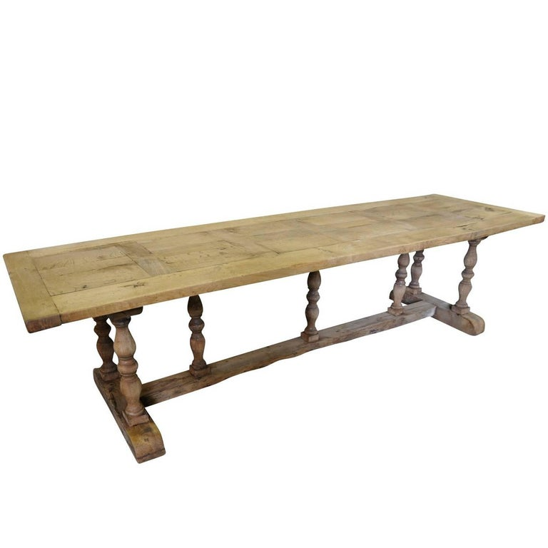 French Farm Table, Trestle Table, 19th Century