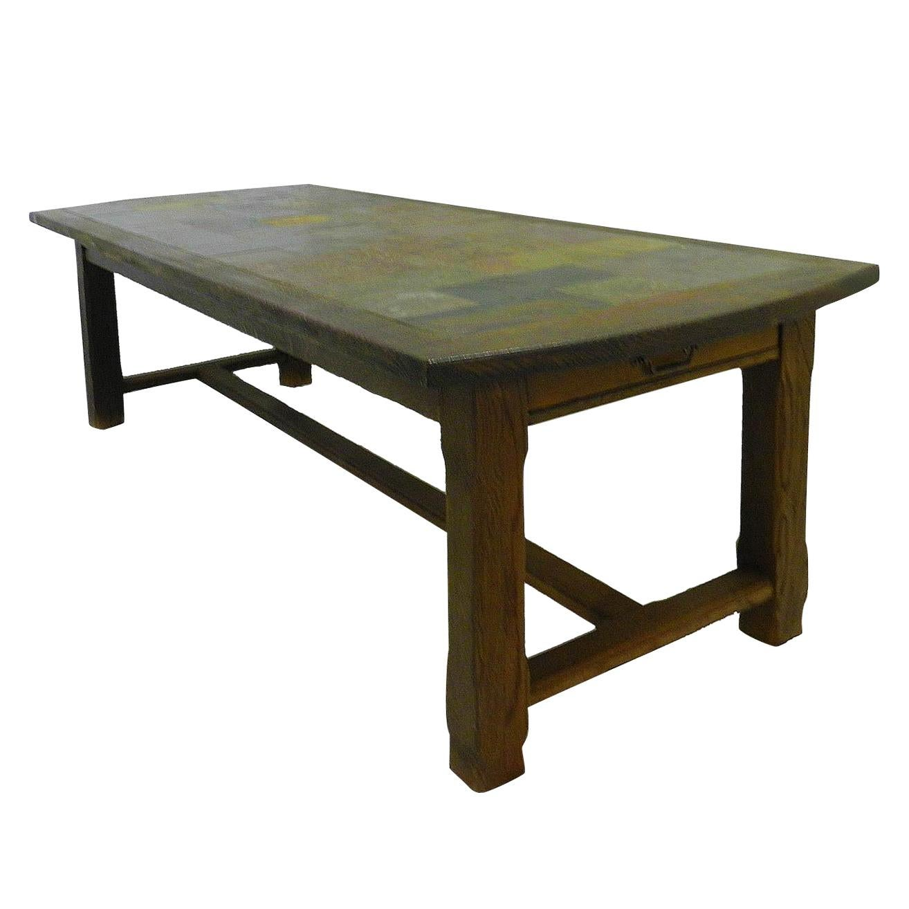 French Farmhouse Table Refectory Shaker Style Stone Tiled Top Early 20th Century