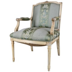 French Fauteuil Armchair with Silk Upholstery