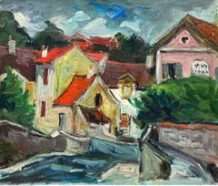 1950's French Fauvist Signed Oil Red Roof Tops Pink Houses Harbour Scene