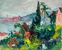 1950's French Fauvist Signed Oil St. Tropez Pink Houses Gardens & Palm Trees