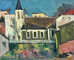 1950's French Fauvist Signed Oil View of Village Houses & Gardens
