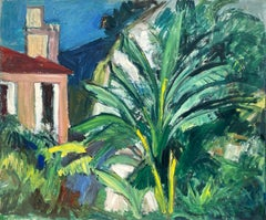 Mid 20th Century French Fauvist Signed Oil Cote d'Azur Pink House Palm Trees
