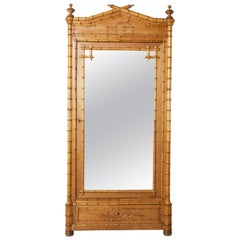 French Faux Bamboo Armoire with Mirror circa 1900, Cherry and Heartwood Pine