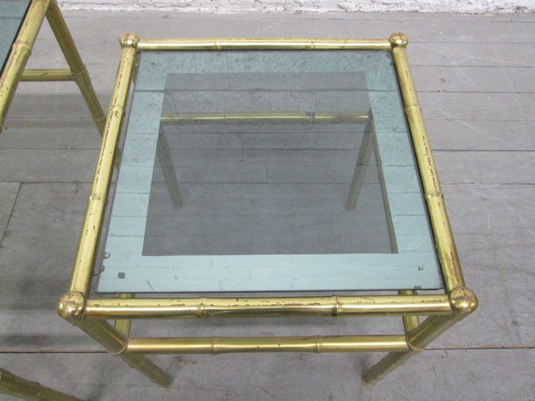French Faux Bamboo Brass Nesting Tables In Good Condition For Sale In New York, NY