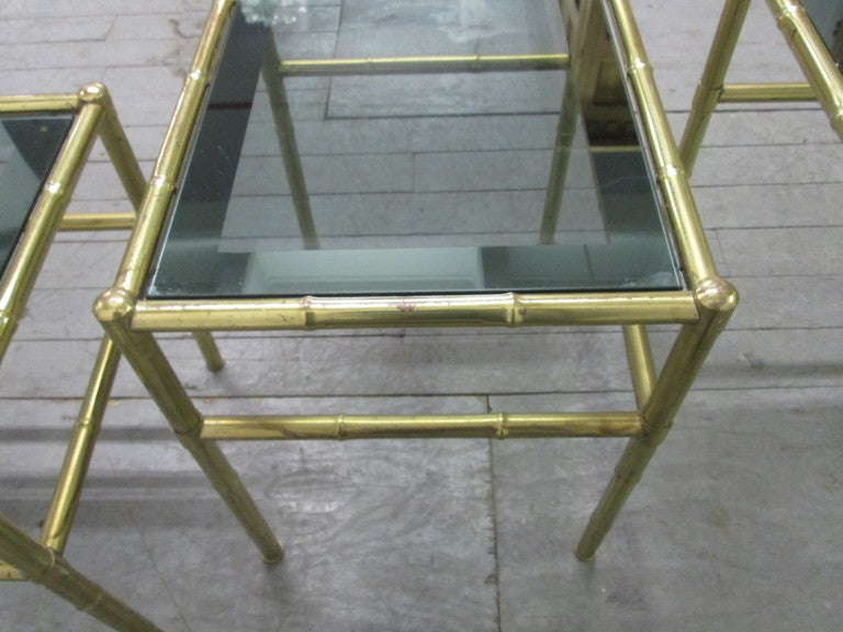 Mid-20th Century French Faux Bamboo Brass Nesting Tables For Sale