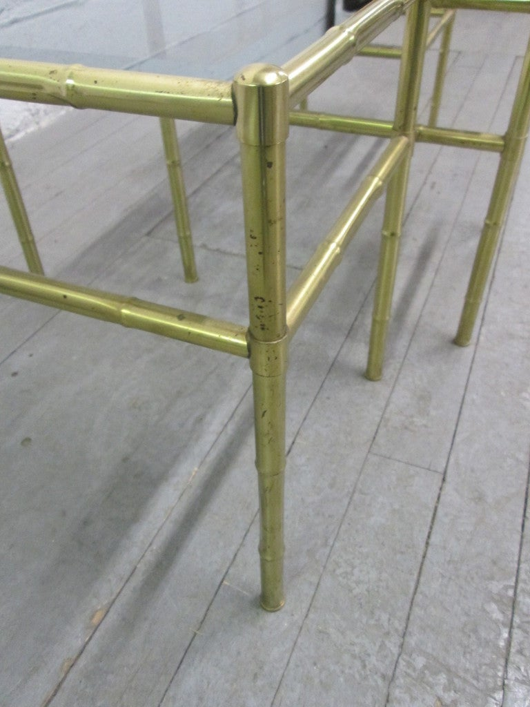 French Faux Bamboo Brass Nesting Tables For Sale 1