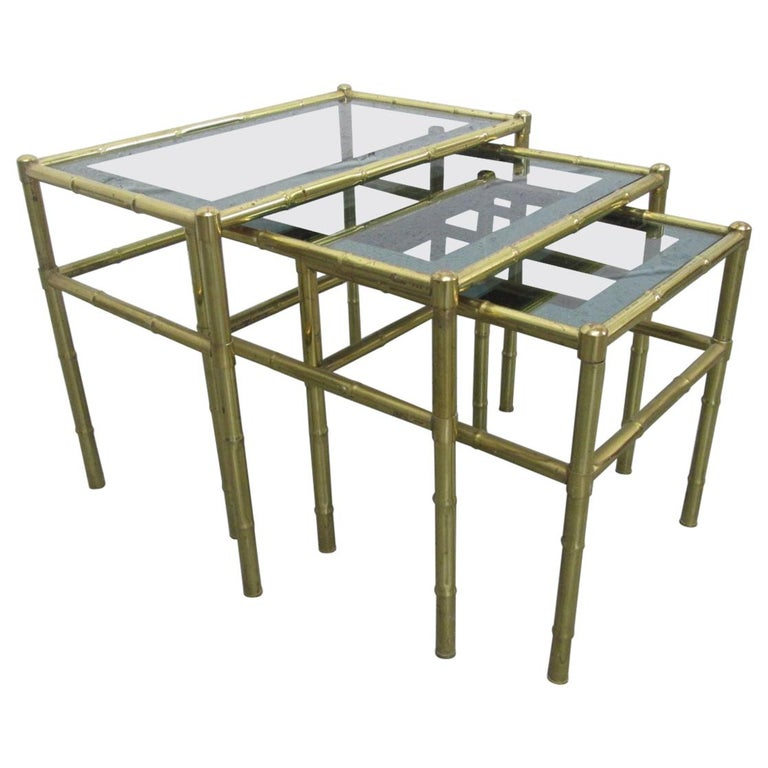 French Faux Bamboo Brass Nesting Tables For Sale