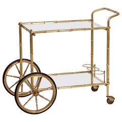 French Faux Bamboo Drinks Cart of Brass and Glass