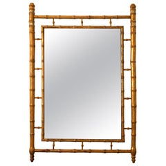 French Faux Bamboo Gilded Mirror