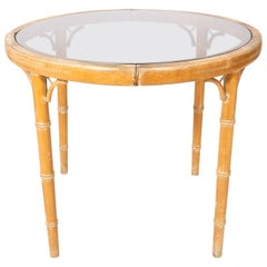 French Faux Bamboo Glass Top Table
