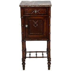 French Faux Bamboo Marble Top Side Table/Stand