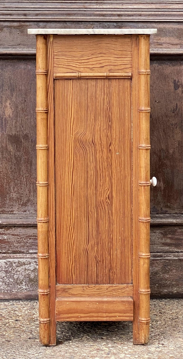 French Faux Bamboo Nightstand or Bedside Table For Sale 10