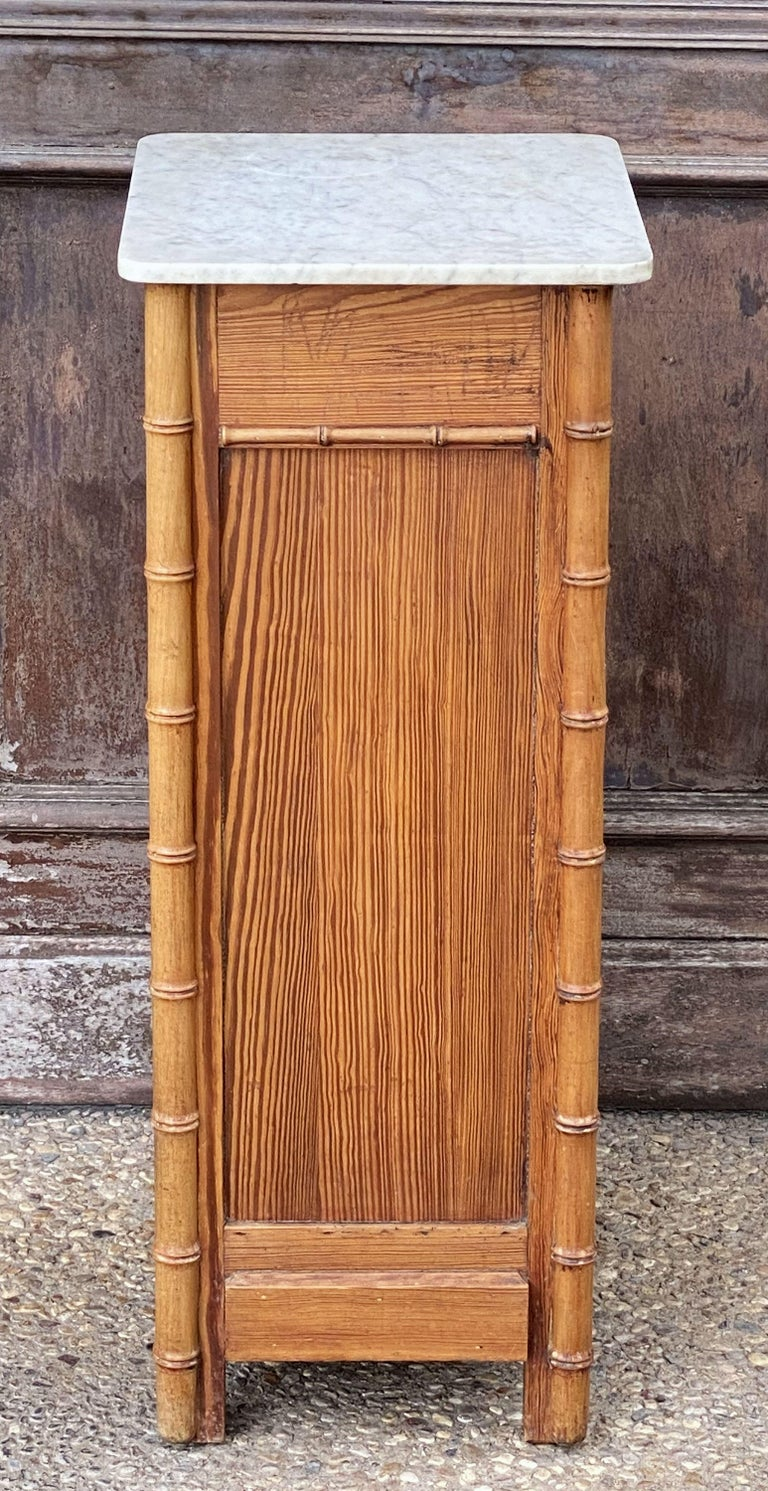 French Faux Bamboo Nightstand or Bedside Table For Sale 11