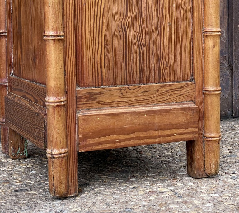 French Faux Bamboo Nightstand or Bedside Table For Sale 13