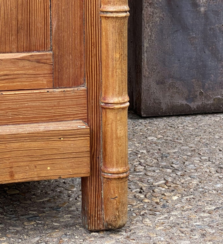 French Faux Bamboo Nightstand or Bedside Table For Sale 15