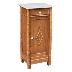 French Faux Bamboo Nightstand or Bedside Table