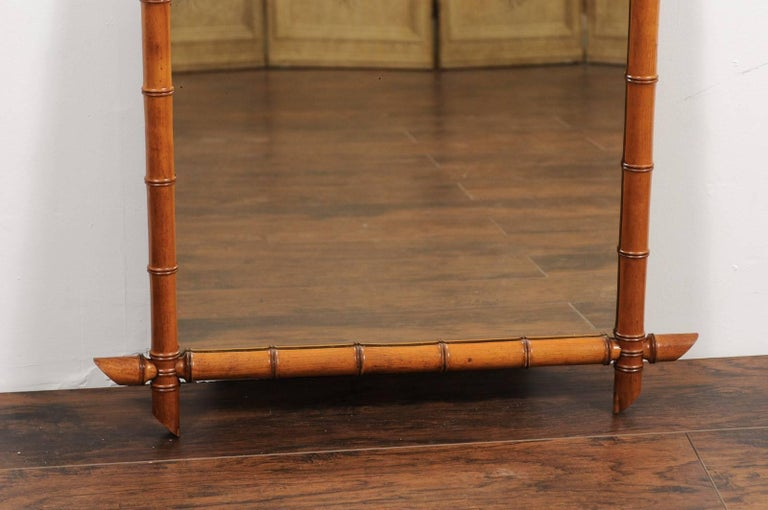 French Faux Bamboo Rectangular Mirror Circa 1930 With