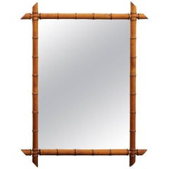 French Faux-Bamboo Rectangular Mirror, circa 1930 with Honey Color