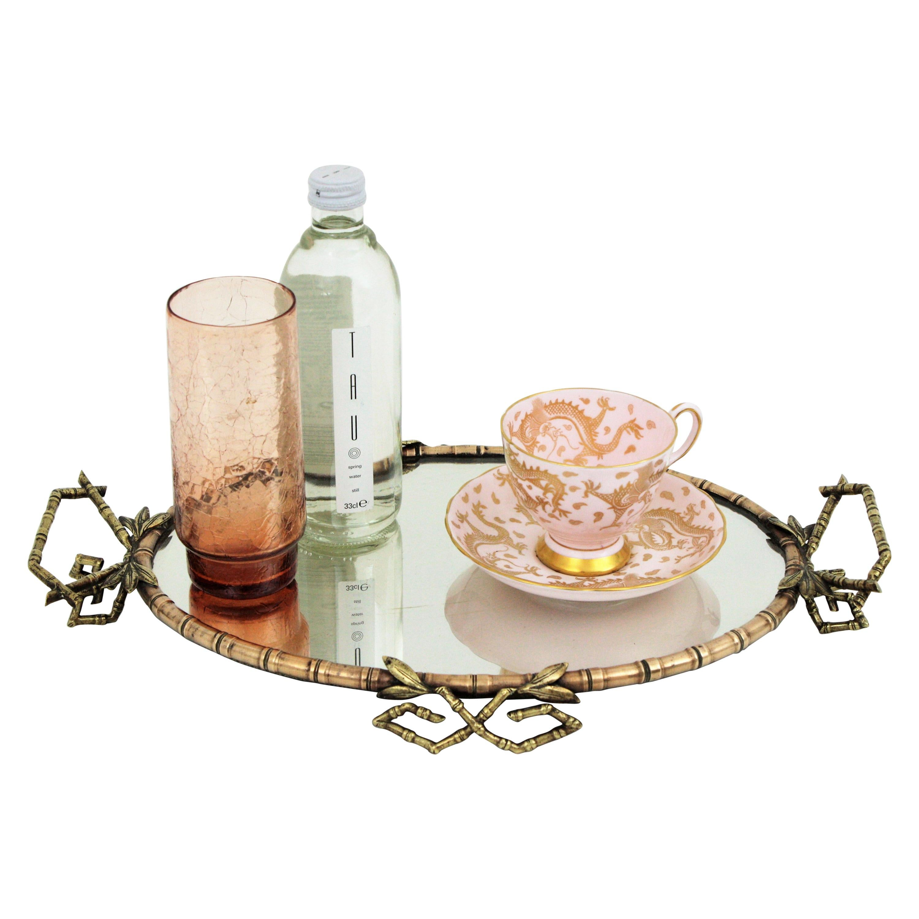 French Faux Bamboo Vanity Tray or Serving Tray in Brass and Bronze