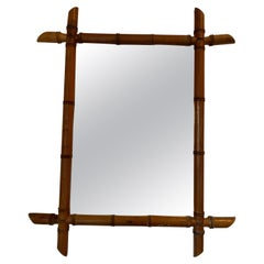 French Faux Bamboo Wood Mirror