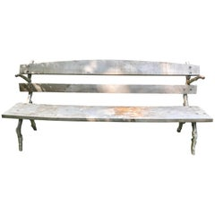 French Faux Bois Cast Iron Park Bench
