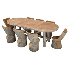 French Faux Bois Garden Table with Eight Comfortable Faux Bois Garden Chairs