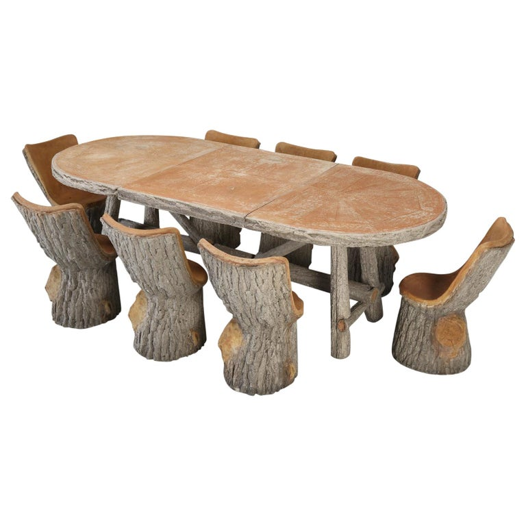 French Faux Bois Garden Table With, Faux Bois Furniture
