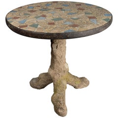 French Faux Bois Mosaic Tile Table