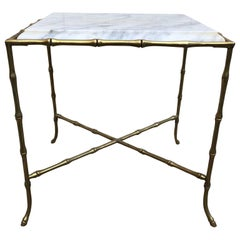 French Square Faux Bamboo Marble-Top And Brass Side Table