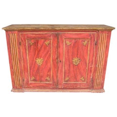 French Faux Painted & Gilt Console Cabinet.  Circa 1790