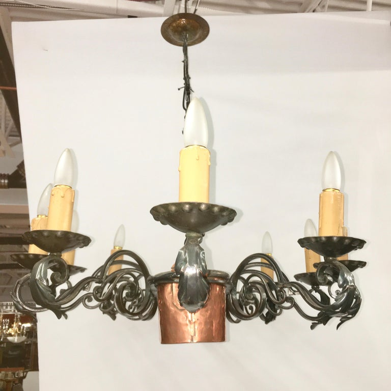 French Fer Forge 10-Light Chandelier with Copper Jardinière In Good Condition For Sale In Hingham, MA
