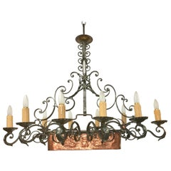 French Fer Forge 10-Light Chandelier with Copper Jardinière