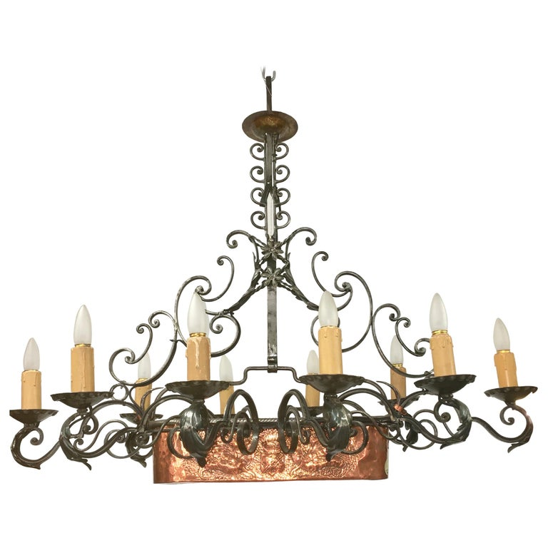 French Fer Forge 10-Light Chandelier with Copper Jardinière For Sale