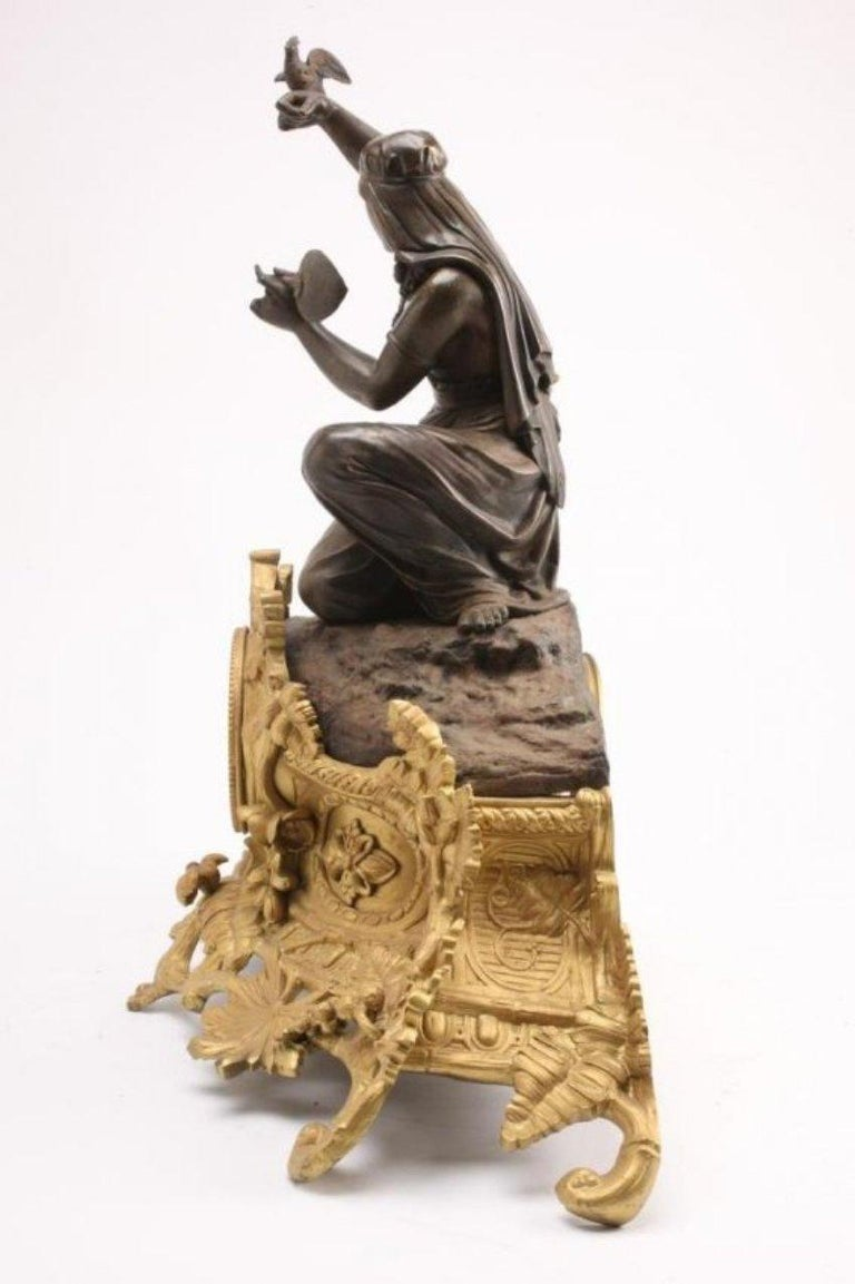French Figural Bronze Clock, Louis Sauvageau For Sale 7