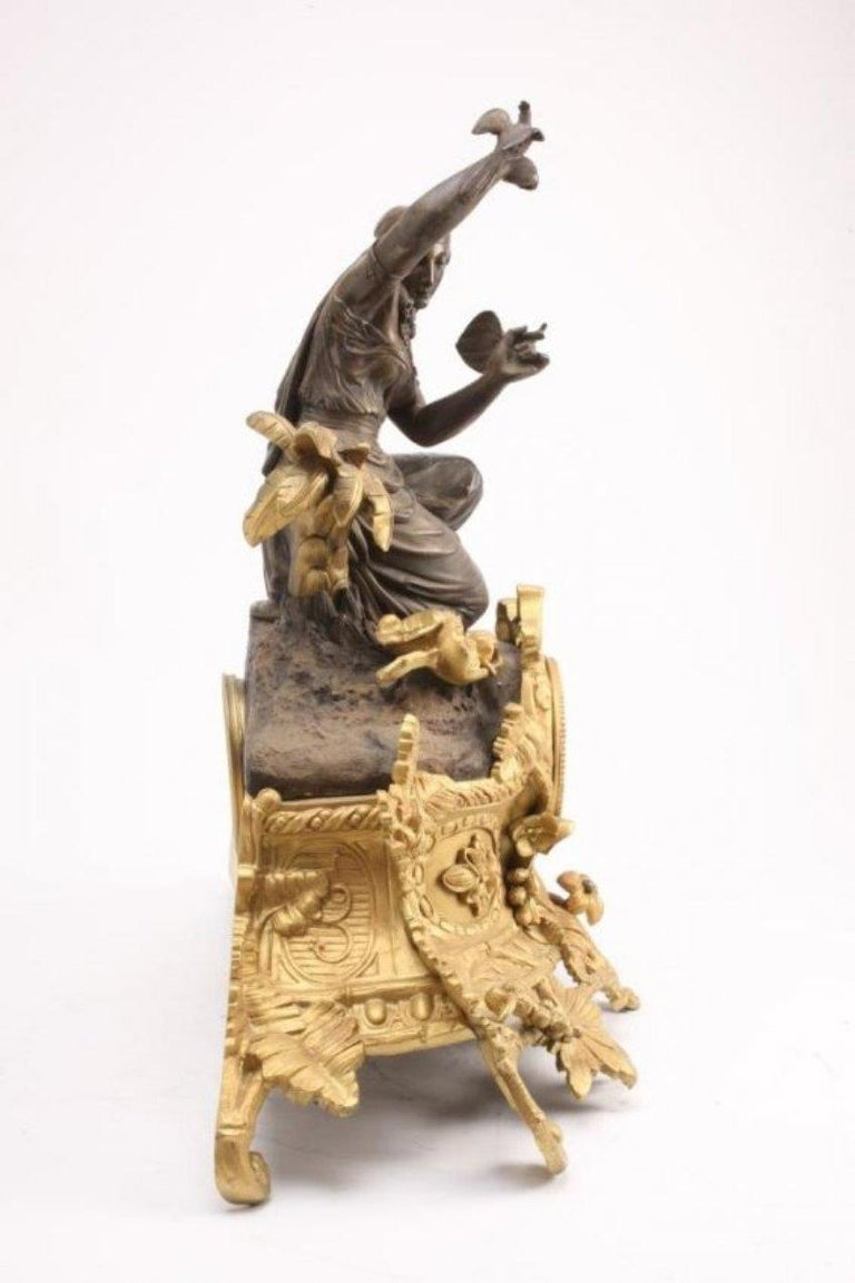 French Figural Bronze Clock, Louis Sauvageau For Sale 8