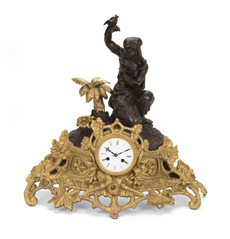 Gilt French Figural Bronze Clock, Louis Sauvageau For Sale