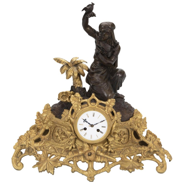 French Figural Bronze Clock, Louis Sauvageau For Sale