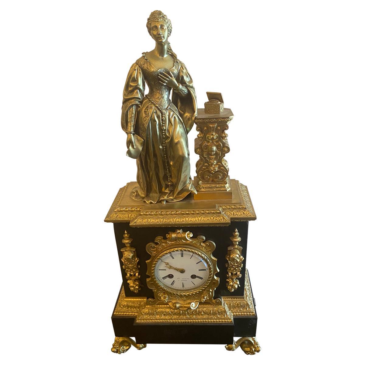 French Figural Bronze Pandora Mantel Shelf Clock