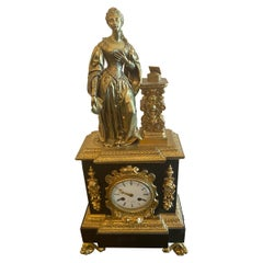 French Figural Bronze Pandora Mantel Shelf Clock
